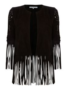 Millie Mackintosh Long sleeved goat suede tassle detail