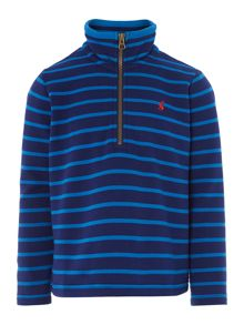 Boys stripe zip neck sweatshirt