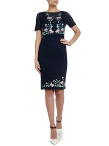 Short sleeve embroidery floral dress