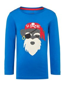 Boys long sleeve dog print jersey top
