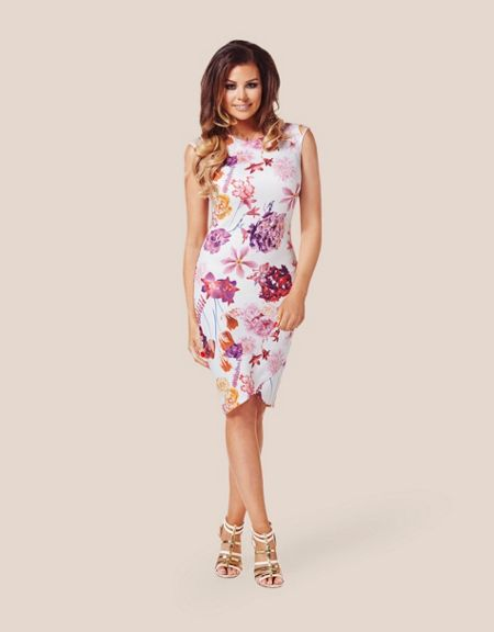 Jessica Wright Cap Sleeve Floral Bodycon Dress