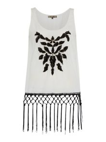 Fringed embellished sleeveless vest