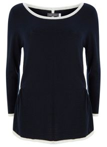 Navy & Ivory Tipped Knit