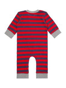 Baby boys bear face striped sleepsuit