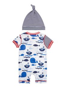 Baby boys whale romper and hat
