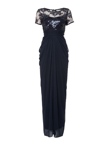 Adrianna Papell Cap sleeve embellished sequin bodice dress