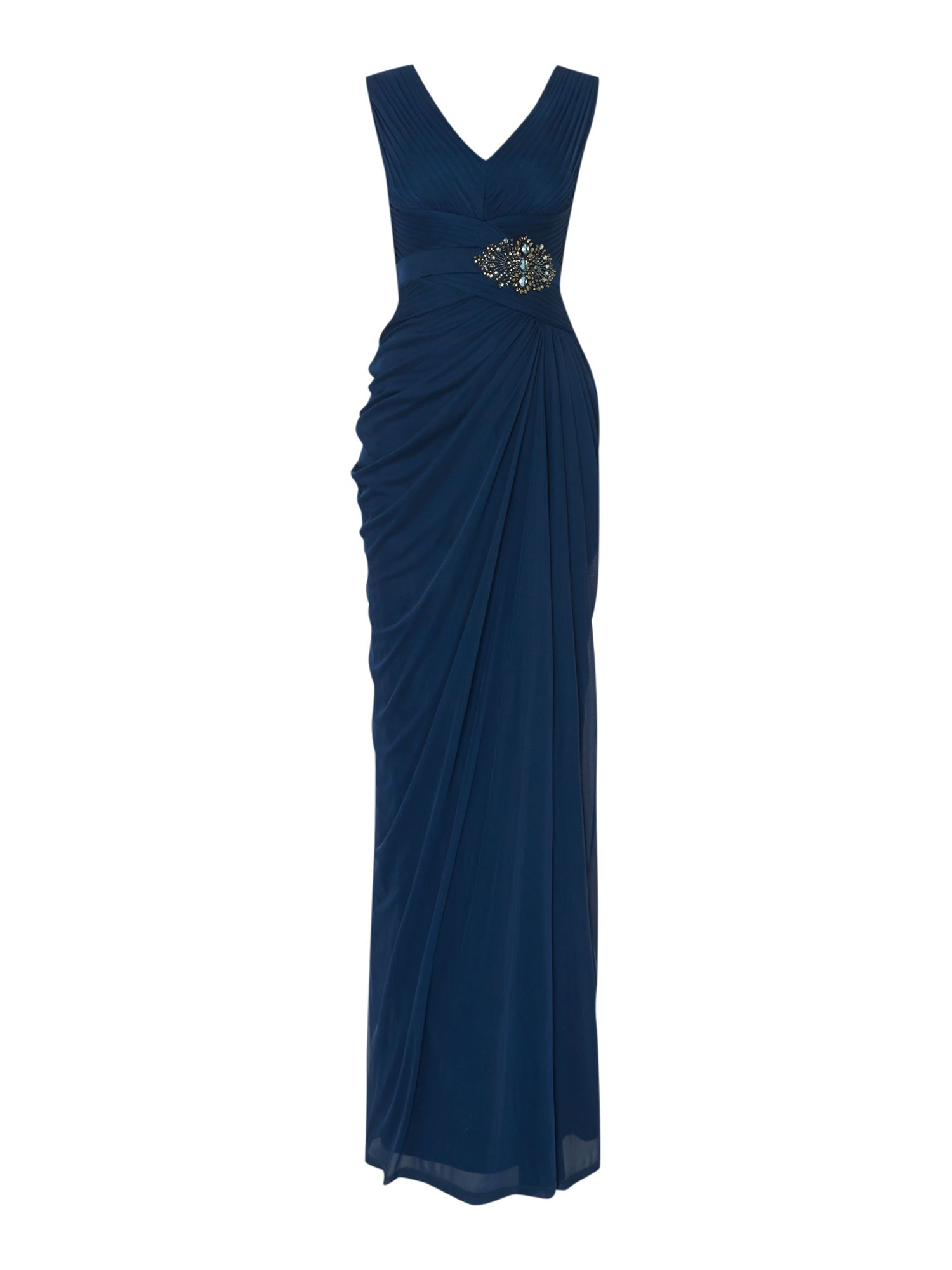 Adrianna Papell Stretch tulle dress with waist detail Navy £119.00 AT vintagedancer.com