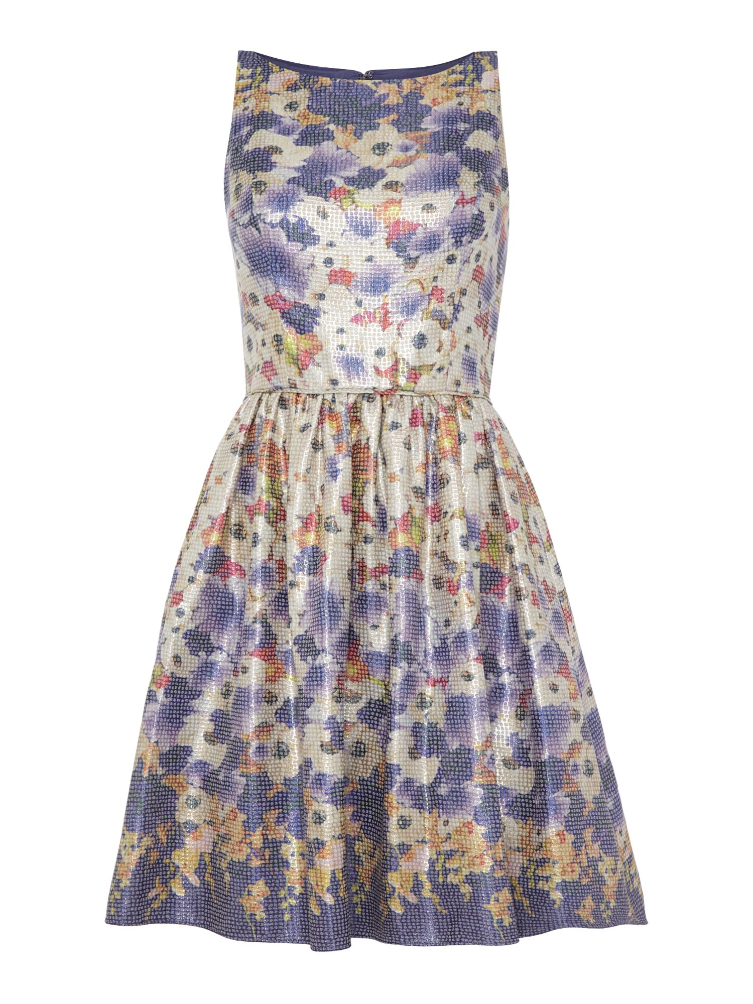 Adrianna Papell Metallic floral jacquard printed dress $170.00 AT vintagedancer.com