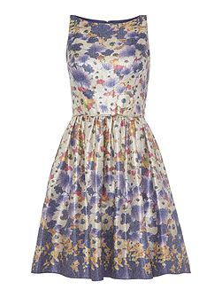 Metallic floral jacquard printed dress