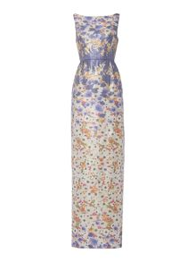 Adrianna Papell Floral metallic jacquard maxi dress