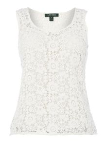 Sleeveless blouse with lace overlay