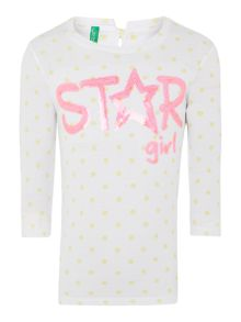Girls long sleeved star sequine t-shirt