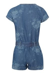 Girls denim floral playsuit