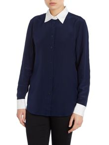 Long sleeved silk shirt with contrast hem
