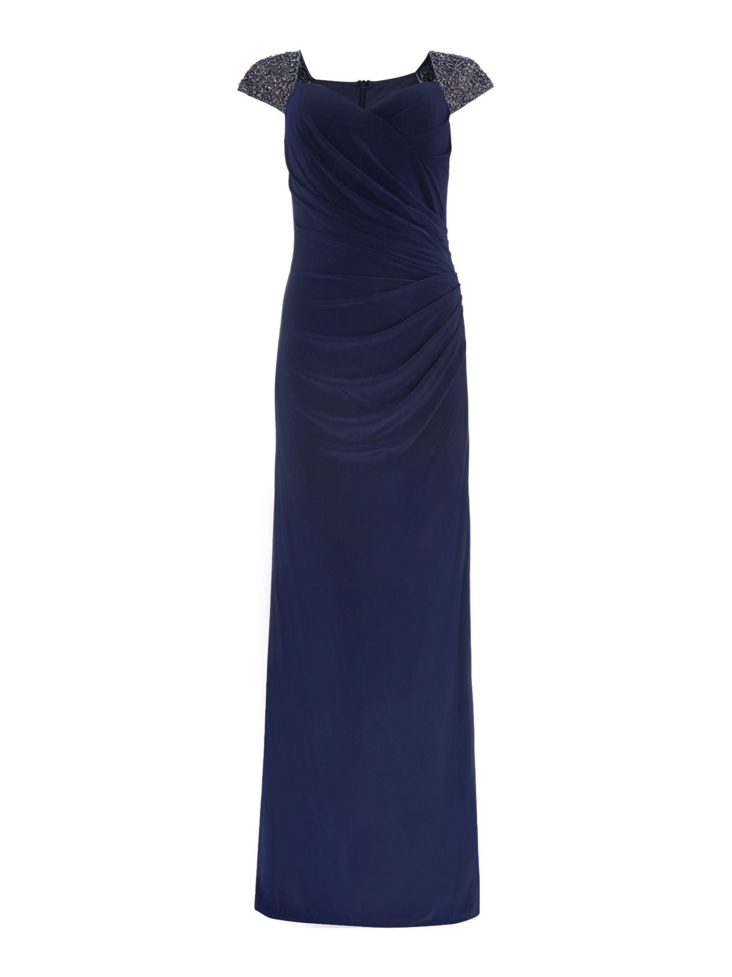Js Collections JS Collections Jersey gown with beaded cap sleeves, Navy