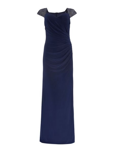 JS Collections Jersey gown with beaded cap sleeves