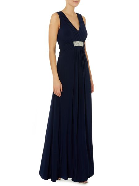 JS Collections V neck jersey gown with lace back
