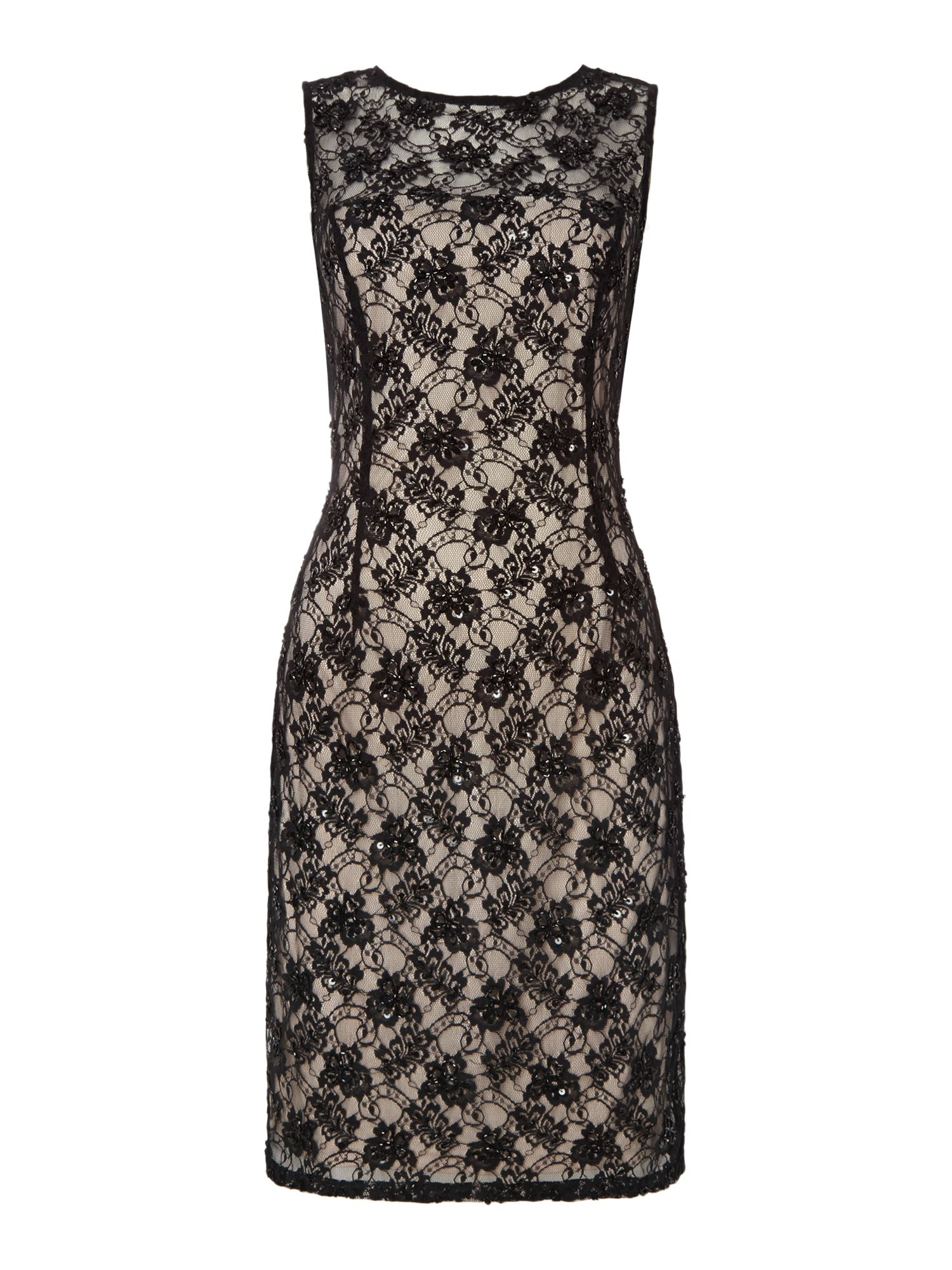 JS Collections All over lace dress with beaded detail, Black