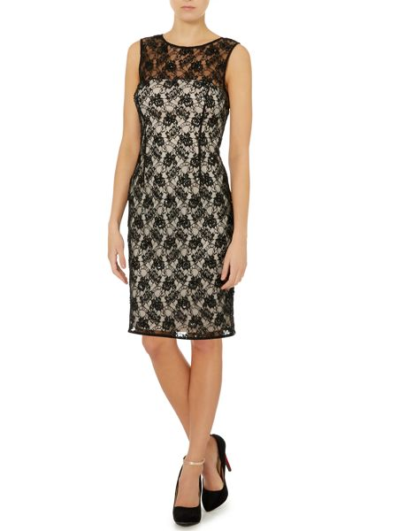 JS Collections All over lace dress with beaded detail