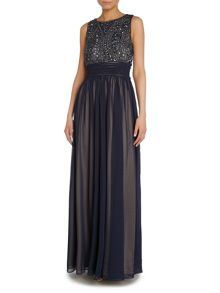 Art deco beaded bodice gown