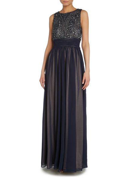 JS Collections Art deco beaded bodice gown