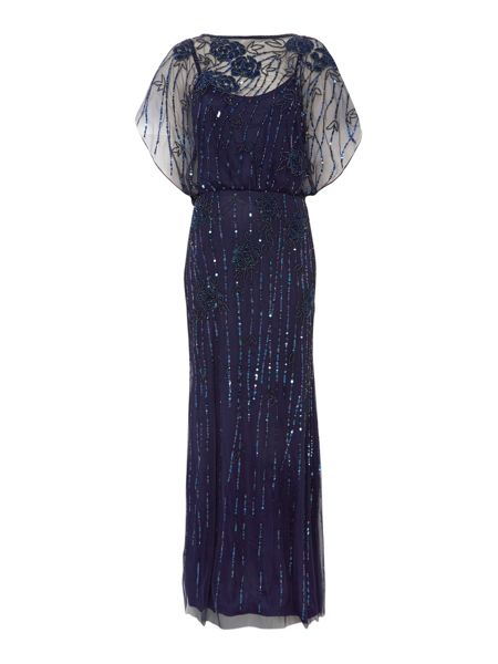 JS Collections All over beaded gown with bat wing sleeves