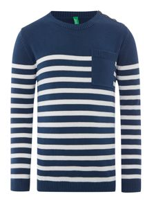Boys stripe button jumper