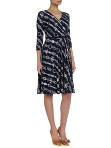 3/4 sleeved wrap dress with chain pront