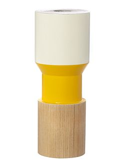 Linea Juxtapose wooden candle stick yellow