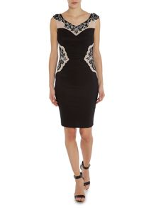Sleeveless scoop neck applique side bodycon dress