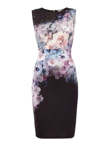 Sleeveless floral print laser cut bodycon dress