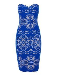 Bandeau lace detail bodycon dress