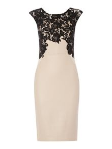 Lace top pu bodycon dress