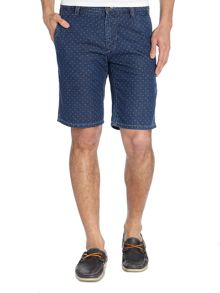 Denim Shorts With Micro Dot Pattern