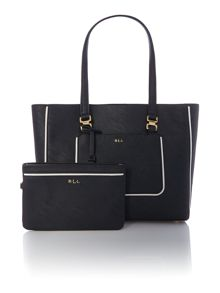 Dorset black tote bag with pouchette