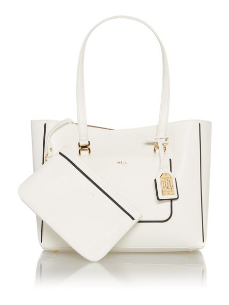 Lauren Ralph Lauren Dorset white tote bag with pouchette