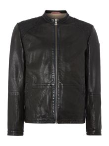 Leather Zip Through Biker Jacket