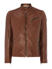 Funnel Neck Leather Biker Jacket