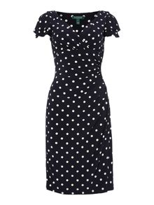 Cap sleeve v neck polka dot shift dress