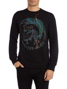 Diesel Mohican Paint Splash Graphic Crew Neck Jumper