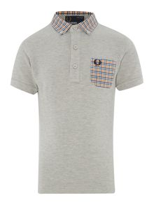 Boys check collar pocket polo
