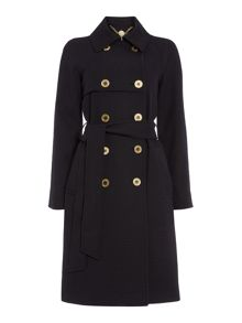 Biba Textured jacquard button detail trench coat
