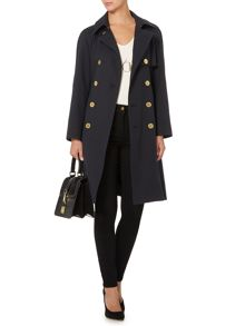 Textured jacquard button detail trench coat