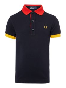 Boys colour collar and cuff polo