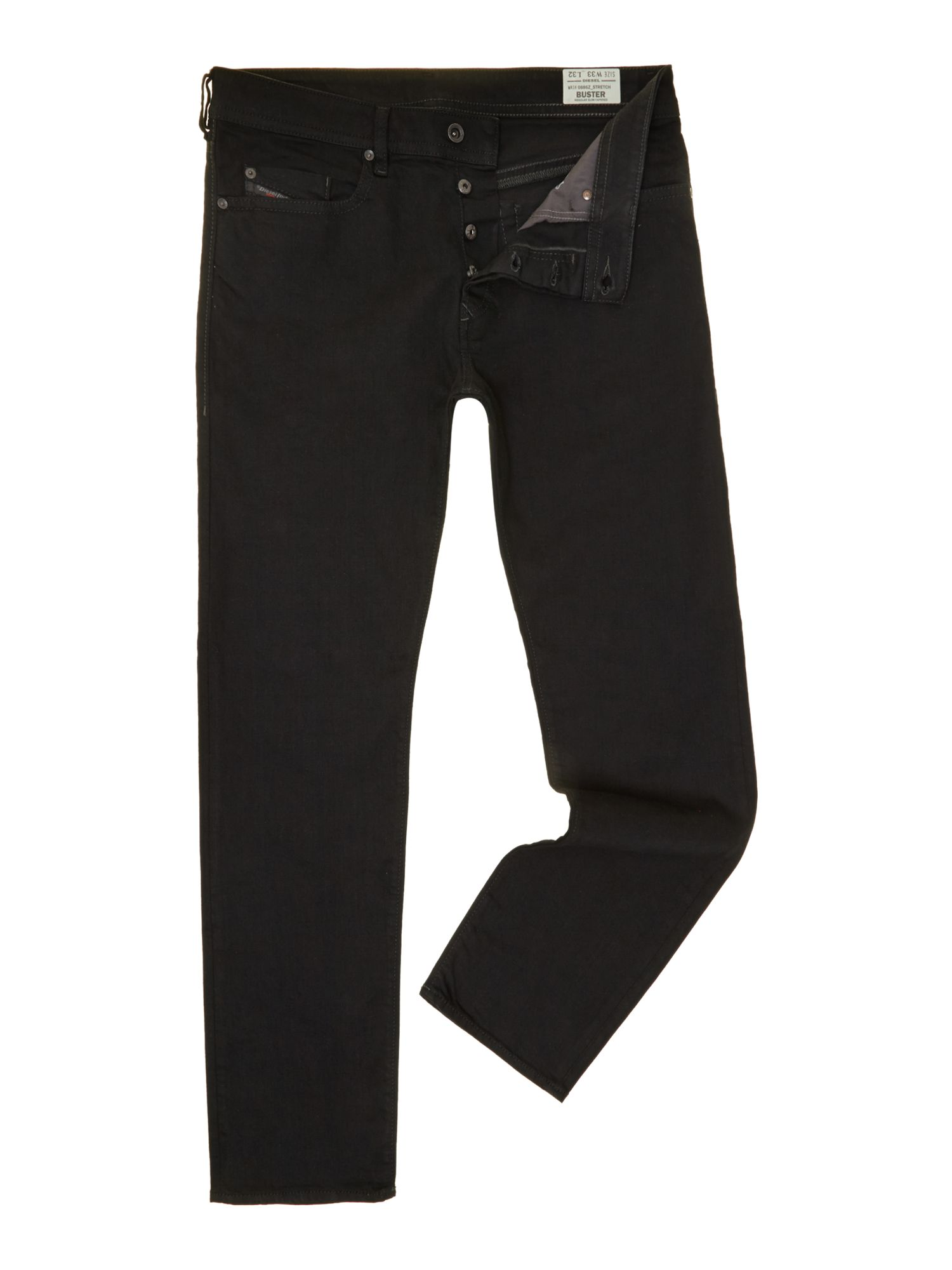 Mens Buster 886z Slim Tapered Fit Stretch Jeans, Black
