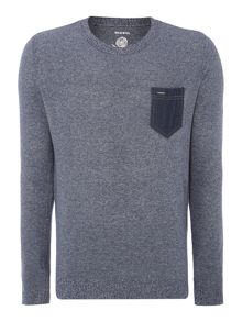 Knitted Crew Neck Denim Pocket Jumper