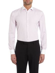 Jonah Slim Fit Multi Stripe Contrast Collar Shirt