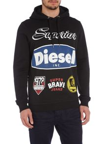 Large Badge Graphic Pull Over Hoodie