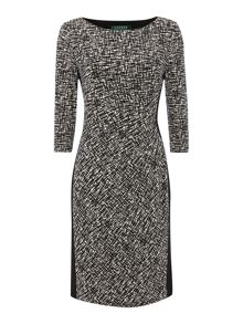 Long sleeved two tone printed dress