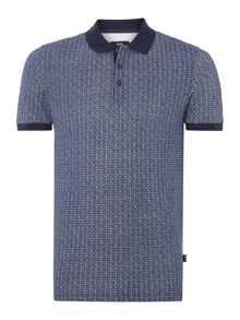 Pique Polo Shirt In Circular Print